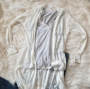 Long sleeve crochet white cardigan